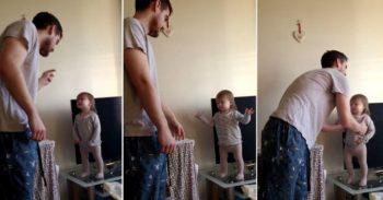 تلاش دختر کوچولو برای بحث با بابا