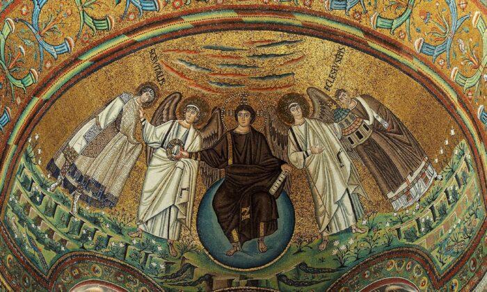 موزاییک محراب کلیسا در ویتیل باسیلیکا، راونا، ایتالیا. مقر یونسکو در سال ۵۴۷ بعد از میلاد مسیح (CC BY-SA 4.0)