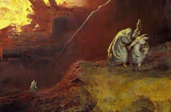 پشت سر گذاشتن شر «ویرانی سودوم و گومورا» همسر لوط برای دیدن شر روی برمیگرداند و نابود میشود. شهرهای سودوم و گومورا به گناهکاری مشهورند