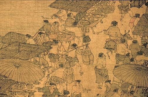 در این نمای نزدیک و تکبرشی از طومار مصور «در امتداد رودخانه در زمان جشنواره کینگمینگ» اثر ژانگ زدوان (1085-1145)  (Public Domain)
